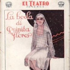 Coleccionismo de Revistas y Periódicos: EL TEATRO MODERNO.AÑO 1928 Nº 140 -LA BODA DE QUINITA FLORES POR S. Y J. ALVAREZ QUINTERO. Lote 24833366