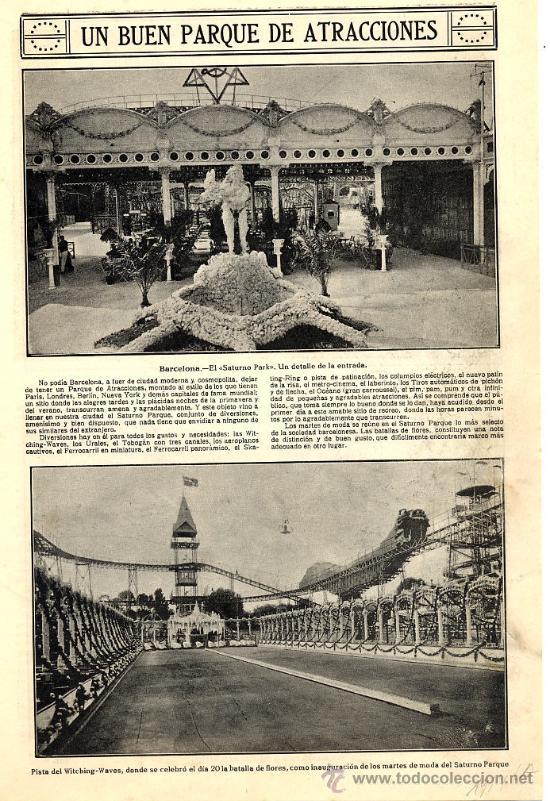 SATURNO PARK 1914 BARCELONA VISTAS HOJA REVISTA (Coleccionismo - Revistas y Periódicos Modernos (a partir de 1.940) - Otros)