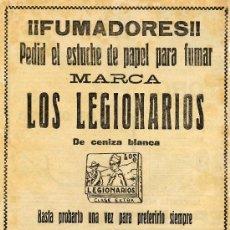 Coleccionismo de Revistas y Periódicos: LEGIONARIOS 1922 PAPEL DE FUMAR HOJA REVISTA. Lote 24615755