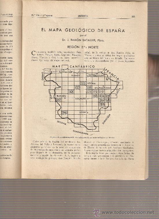 REVISTA IBERICA 134. AÑO 1948 .EL MAPA GEOLOGICO DE ESPAÑA.REGION NORTE. (Coleccionismo - Revistas y Periódicos Modernos (a partir de 1.940) - Otros)