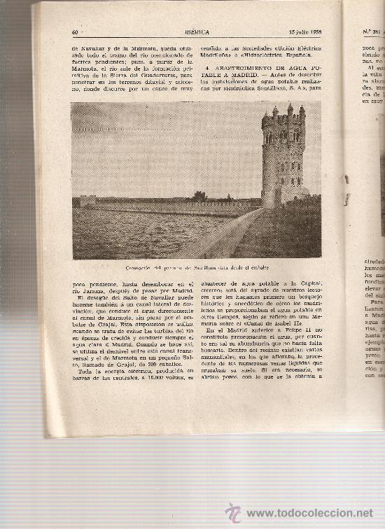 Coleccionismo de Revistas y Periódicos: REVISTA IBERICA 381 . AÑO 1958. RIO MANZANARES.ROMANICO BAGES.MANRESA.PANTANO SANTILLANA. - Foto 2 - 9236231