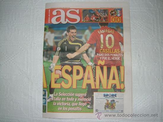 Periodico As Espana 4 Italia 2 Pasamos De Cua Comprar Otras