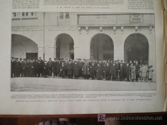 Coleccionismo de Revistas y Periódicos: ZUMARRAGA (GUIPUZCOA): REUNION DE LA JUNTA FORAL DE GUIPUZCOA ANTE LA PORTADA DE LA CASA CONSISTORIAL. - Foto 2 - 117825855