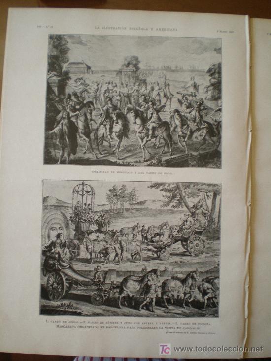 Coleccionismo de Revistas y Periódicos: MASCARADA ORGANIZADA EN BARCELONA PARA SOLEMNIZAR LA VISITA DE CARLOS III. - Foto 5 - 117825855