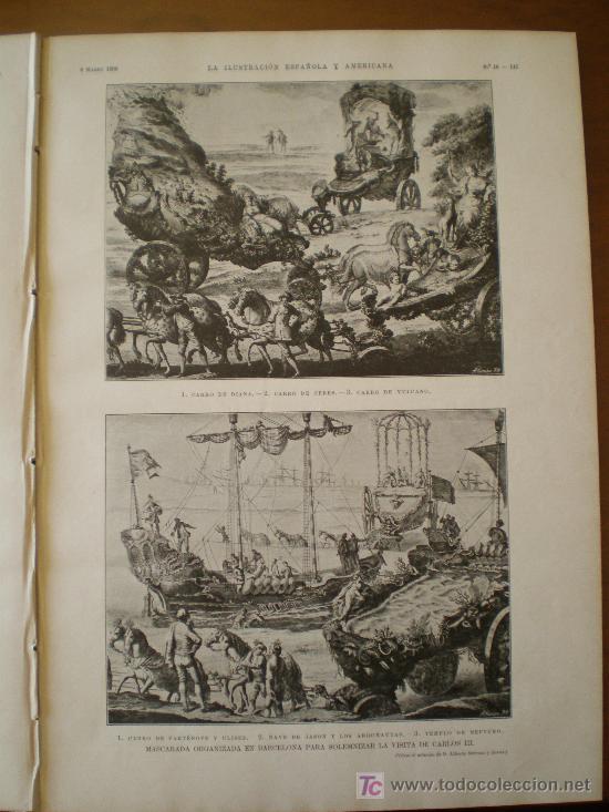 Coleccionismo de Revistas y Periódicos: MASCARADA ORGANIZADA EN BARCELONA PARA SOLEMNIZAR LA VISITA DE CARLOS III. - Foto 4 - 117825855