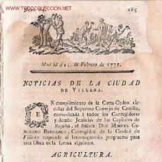 Coleccionismo de Revistas y Periódicos: NOTICIAS DE LA CIUDAD DE VILLENA -1771. Lote 23743370
