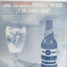 Coleccionismo de Revistas y Periódicos: REVISTA TOROS LA AFICION ESPAÑOLA , CONTRAPORTADA PUBLICIDAD CERVEZA ESTRELLA DORADA. 1967,. Lote 245159995
