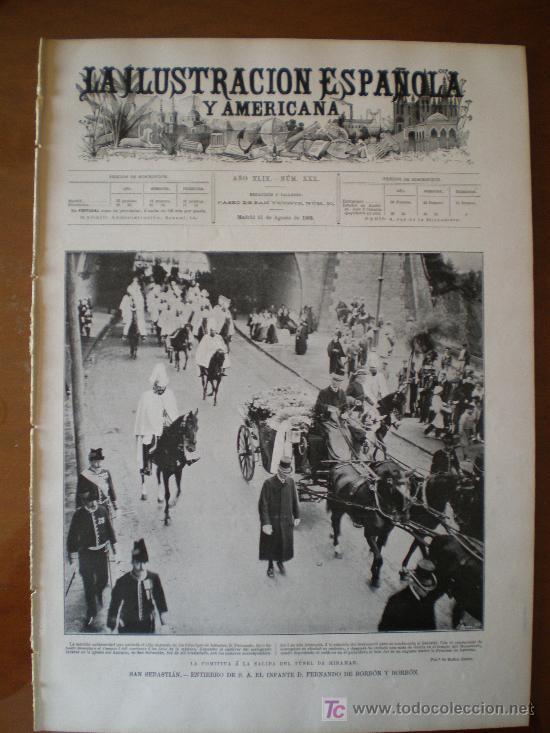 ILUSTRACION ESPAÑOLA/AMERICANA (15/08/1905) INFANTE SAN SEBASTIAN ESCORIAL CATABRICO URDIALES GOLFOS (Coleccionismo - Revistas y Periódicos Antiguos (hasta 1.939))