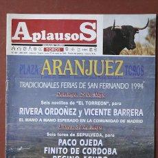 Coleccionismo de Revistas y Periódicos: APLAUSOS. SEMANARIO TAURINO.. Lote 10060449