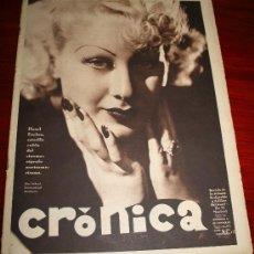 Coleccionismo de Revistas y Periódicos: CRÓNICA - 23 DICIEMBRE 1934 - HAZEL FORBES, JOSEFINA BAKER, ........... Lote 10122989