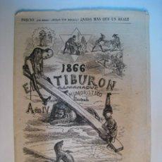 Colecionismo de Revistas e Jornais: EL TIBURON - 1866 - ALMANAQUE HUMORISTICO ILUSTRADO. Lote 10208132