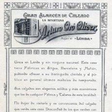 Coleccionismo de Revistas y Periódicos: LERIDA 1918 PUBLICIDAD HOJA REVISTA. Lote 10893500