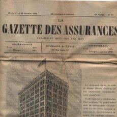 Coleccionismo de Revistas y Periódicos: LA GAZETTE DES ASSURANCES. Nº 15 DEL 10 OCTUBRE DE 1894. PARÍS. Lote 18577333