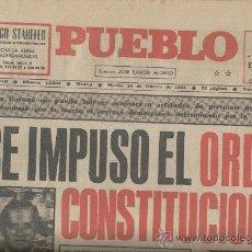 Coleccionismo de Revistas y Periódicos: PERIODICO PUEBLO. MADRID. 24-02-1981.FRACASA EL GOLPE DE ESTADO EN ESPAÑA. TEJERO. . Lote 11466152