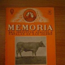 Coleccionismo de Revistas y Periódicos: MEMORIA DEL INSTITUTO AGRICOLA CATALAN DE SAN ISIDRO BARCELONA DICIEMBRE 1945. Lote 11520428