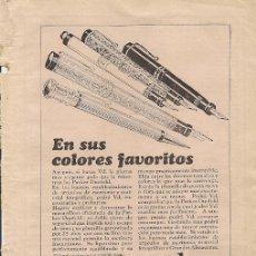 Coleccionismo de Revistas y Periódicos: PUBLICIDAD PLUMAS ESTILOGRÁFICAS PARKER DUOFOLD. Lote 18470013