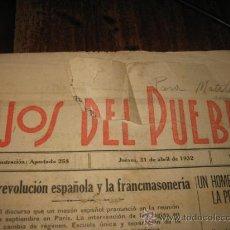Coleccionismo de Revistas y Periódicos: LOS HIJOS DEL PUEBLO JUEVES 21 DE ABRIL DE 1932. Lote 16237539