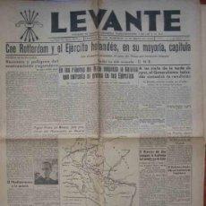 Coleccionismo de Revistas y Periódicos: LEVANTE Nº339. JUEVES 15 MAYO 1940. NOTICIAS DE LA SEGUNDA GUERRA MUNDIAL.. Lote 12199486