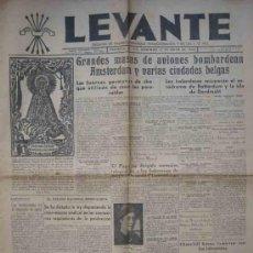 Coleccionismo de Revistas y Periódicos: LEVANTE Nº337. JUEVES 12 MAYO 1940. NOTICIAS DE LA SEGUNDA GUERRA MUNDIAL.. Lote 12199540