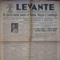 Coleccionismo de Revistas y Periódicos: LEVANTE Nº336. JUEVES 11 MAYO 1940. NOTICIAS DE LA SEGUNDA GUERRA MUNDIAL.. Lote 12199601