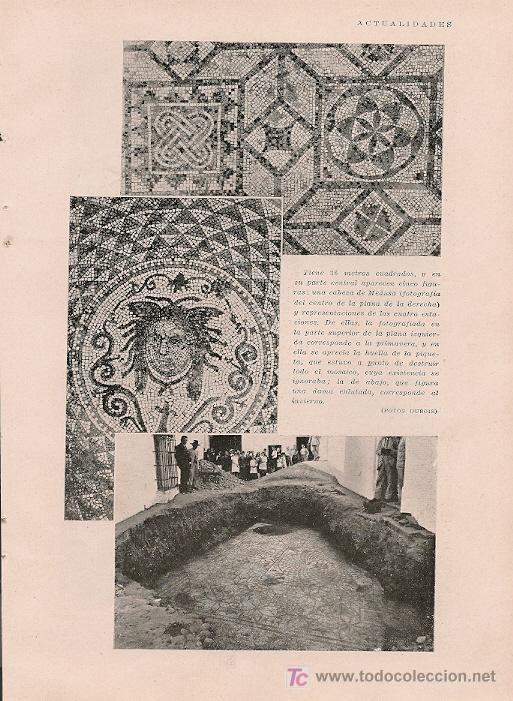 * CARMONA, SEVILLA * DESCUBRIMIENTO ARQUEOLÓGICO, MOSAICO - 1929 (Coleccionismo - Revistas y Periódicos Antiguos (hasta 1.939))