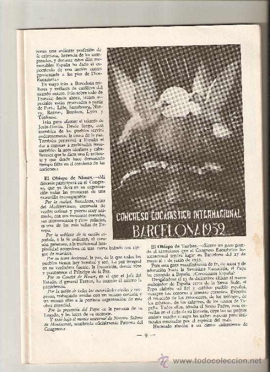 REVISTA.AÑO 1952.CONGRESO EUCARISTICO DE BARCELONA.IGNACIO CALDERON FOCH.FAVORES. (Coleccionismo - Revistas y Periódicos Modernos (a partir de 1.940) - Otros)