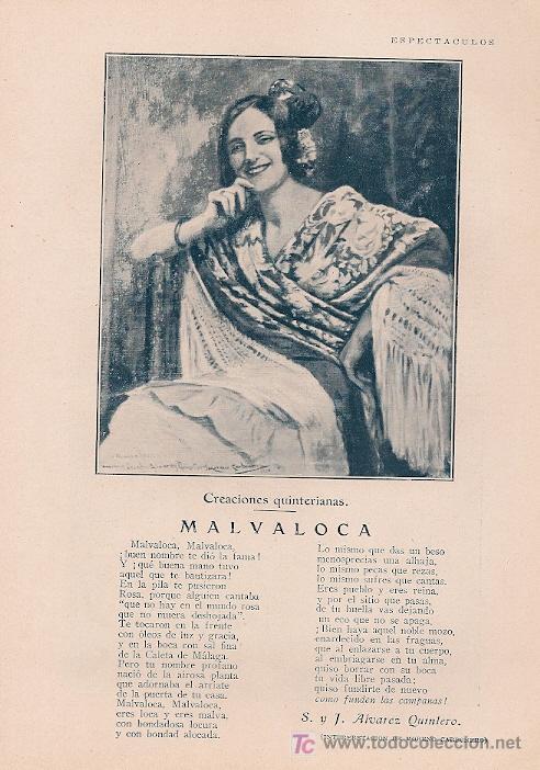 MALVALOCA / POEMA DE S. Y J. ÁLVAREZ QUINTERO; ILUSTRACIÓN DE MORENO CARBONERO -1929 (Coleccionismo - Revistas y Periódicos Antiguos (hasta 1.939))