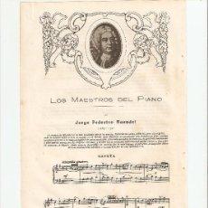 Coleccionismo de Revistas y Periódicos: HOJAS REPORTAJE.AÑ0 1921.PARTITURA CON LETRA DE LA GAVOTA DE J.F.HAENDEL.. Lote 13512942