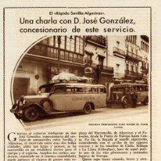 Coleccionismo de Revistas y Periódicos: SEVILLA-ALGECIRAS 1933 RAPIDO LINEA AUTOCAR HOJA REVISTA. Lote 222142853