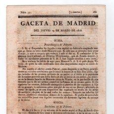 Coleccionismo de Revistas y Periódicos: GACETA DE MADRID DEL JUEVES 19 DE MARZO DE 1818. Nº 34. PAGINA DE LA 281 A LA 288. Lote 14224954