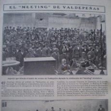 Coleccionismo de Revistas y Periódicos: HOJA DE REVISTA EL MEETING DE VALDEPEÑAS 1908. Lote 14586881
