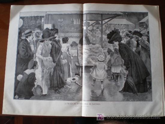 Coleccionismo de Revistas y Periódicos: ILUSTRACION A DOBLE PAGINA: LA PLAZA DE SANTA CRUZ EN NAVIDAD, DE MARTINEZ BRINGA - Foto 5 - 34517223