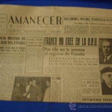 Coleccionismo de Revistas y Periódicos: AMANECER - DIARIO ARAGONES DEL MOVIMIENTO - 23/11/1951. Lote 19385097
