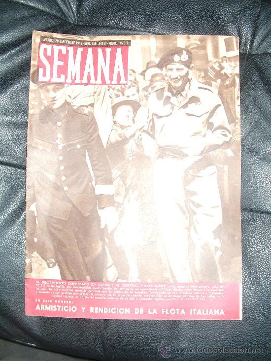 REVISTA SEMANA , 28 SETIEMBRE 1943 NÚM 188 AÑO IV. (Coleccionismo - Revistas y Periódicos Modernos (a partir de 1.940) - Otros)