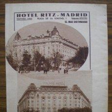 Coleccionismo de Revistas y Periódicos: RECORTE DE PRENSA 1935 - PUBLICIDAD HOTEL RITZ Y PALACE HOTEL (MADRID). Lote 14998931