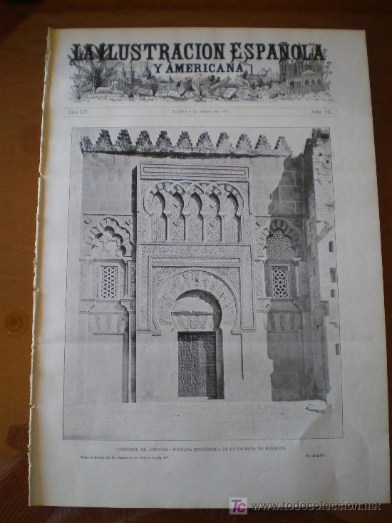 ILUSTRACION ESPAÑOLA/AMERICANA (08/03/11) CORDOBA VELAZQUEZ CANOA ESCORIAL BRINGA CARNAVAL VALENCIA (Coleccionismo - Revistas y Periódicos Antiguos (hasta 1.939))