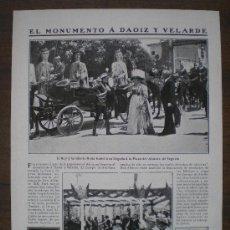 Collectionnisme de Revues et Journaux: RECORTE DE PRENSA 1910 - MONUMENTO A DAOIZ Y VELARDE EN SEGOVIA (INFANTA ISABEL Y ALFONSO XIII). Lote 16020556