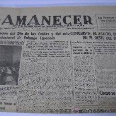 Coleccionismo de Revistas y Periódicos: PERIODICO. AMANECER. DIARIO DE FALANGE ESPAÑOLA TRADICIONALISTA. 30 OCTUBRE 1942. 42X58, 3 HOJAS.. Lote 25899035