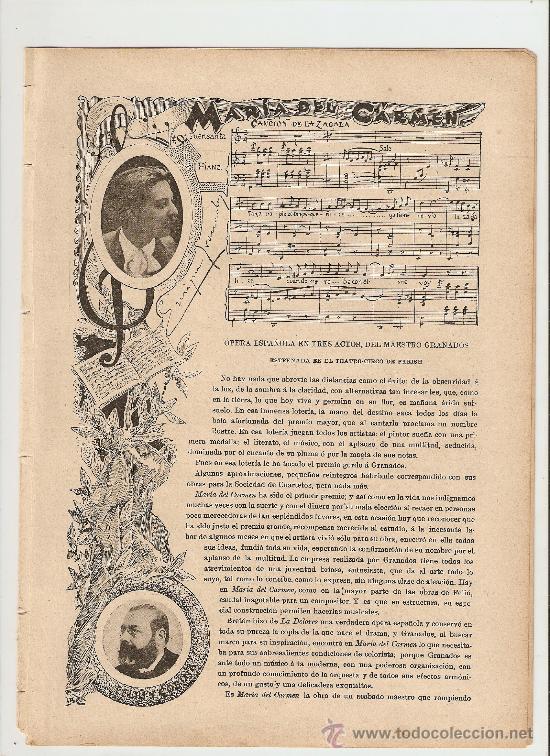 BLANCO Y NEGRO.AÑO1898.OPERA.GRANADOS.MARIA DEL CARMEN.MUSICA.VALVERDE.PASAMONTE.TRAPEROS.MADRID. (Coleccionismo - Revistas y Periódicos Antiguos (hasta 1.939))