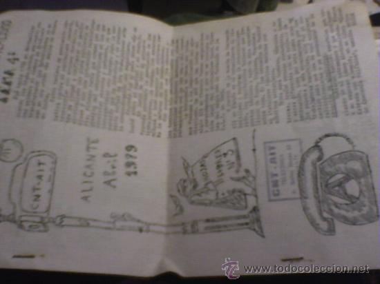 Coleccionismo de Revistas y Periódicos: HOJAS LIBRES PERIODICO ALICANTE Nº 3 1979 ABRIL CLANDESTINO CNT AIT COMIC DE PARLA - Foto 2 - 24398456