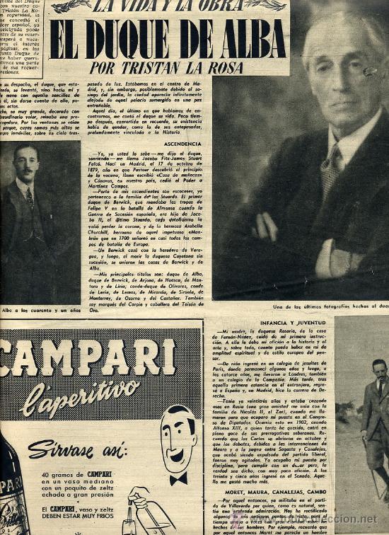 DUQUE DE ALBA 1953 2 HOJAS REVISTA (Coleccionismo - Revistas y Periódicos Modernos (a partir de 1.940) - Otros)