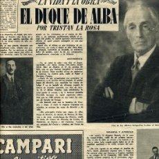 Coleccionismo de Revistas y Periódicos: DUQUE DE ALBA 1953 2 HOJAS REVISTA. Lote 23542861