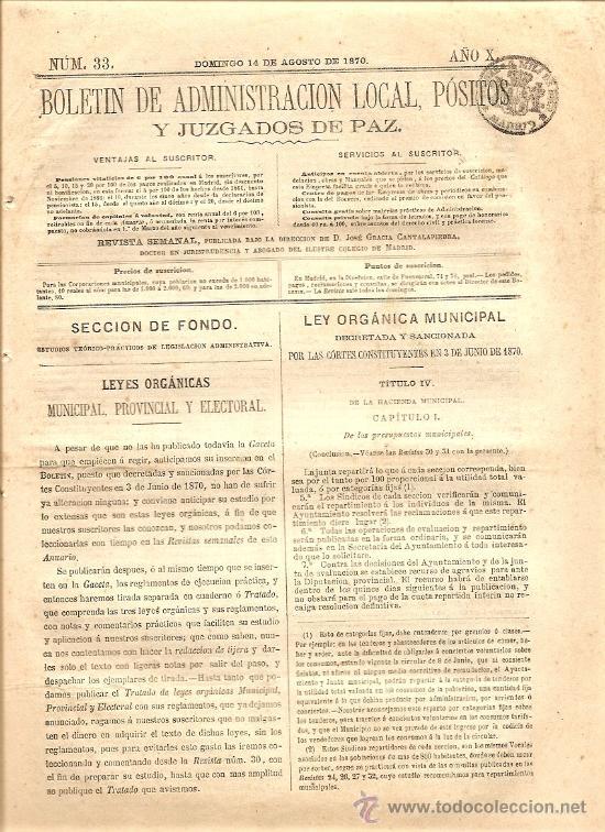 BOLETIN DE ADMINISTRACION LOCAL AÑO X Nº 33 - 14 AGOSTO 1870 (Coleccionismo - Revistas y Periódicos Antiguos (hasta 1.939))