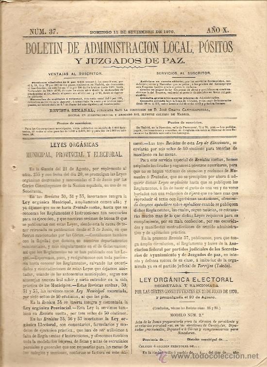BOLETIN DE ADMINISTRACION LOCAL AÑO X Nº 37 - 11 SEPTIEMBRE 1870 - LAGUNA DE DUERO (Coleccionismo - Revistas y Periódicos Antiguos (hasta 1.939))