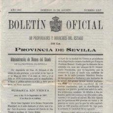Coleccionismo de Revistas y Periódicos: BOLETÍN OFICIAL DEL ESTADO,DE LA PROVINCIA DE SEVILLA. Nº 2517. 15 DE AGOSTO DE 1897.. Lote 17915547