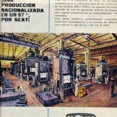 Coleccionismo de Revistas y Periódicos: SEAT 1961 AUTOMOVIL 1400-600 HOJA REVISTA. Lote 17999386