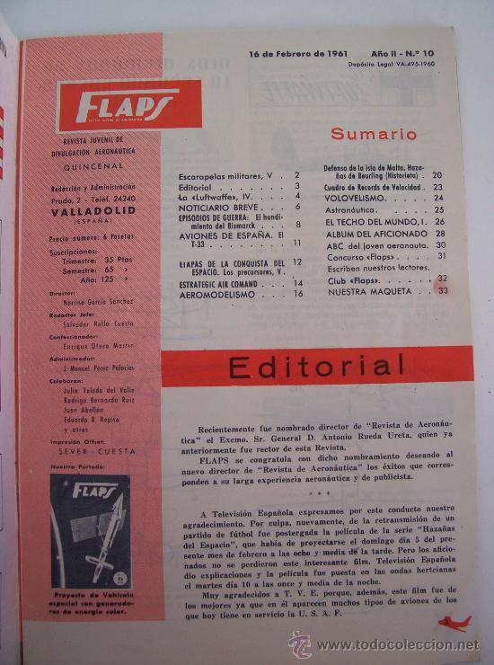 Coleccionismo de Revistas y Periódicos: flaps, revista juvenil de divulgacion aeronautica, quincenal, año II-nº10, 1961 - Foto 2 - 25690507