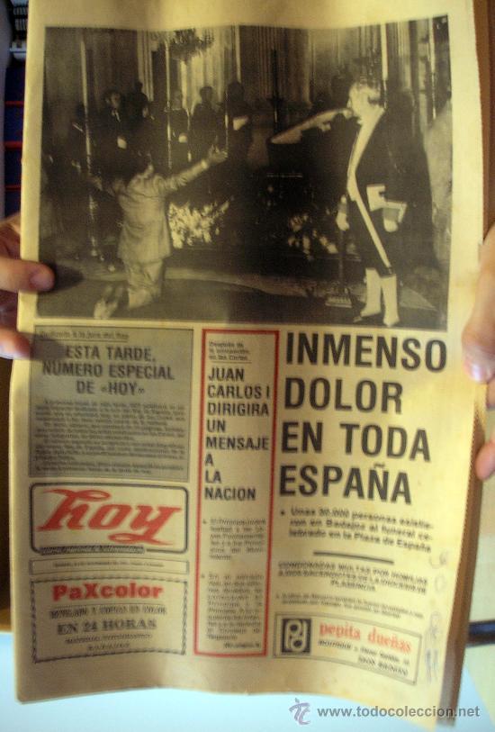 DIARIO HOY. NOVIEMBRE DE 1975, DEDICADO A LA MUERTE DE FRANCO (Coleccionismo - Revistas y Periódicos Modernos (a partir de 1.940) - Otros)