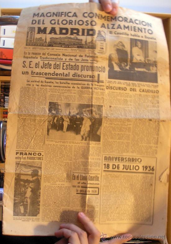 PERIODICO MADRID. 18 DE JULIO DE 1941 (Coleccionismo - Revistas y Periódicos Modernos (a partir de 1.940) - Otros)
