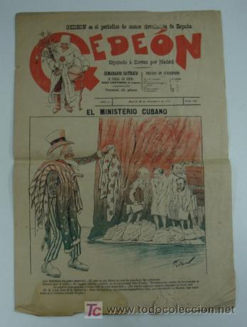 GEDEON. SEMANARIO SATÍRICO. 30 DE DICIEMBRE DE 1897. Nº 112. 40 X 28 CM. (Coleccionismo - Revistas y Periódicos Antiguos (hasta 1.939))